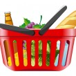 Shopping basket with foods — Stockvectorbeeld
