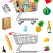 Stock Vector: Shopping cart with purchases and foods