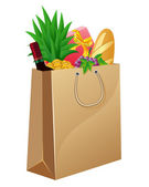 Shopping bag with foods — Stockvector