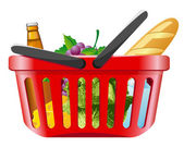 Shopping basket with foods — Stok Vektör
