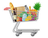 Shopping cart with purchases and foods — Stock Vector