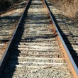 Looking down the railroad tracks - Stock Photo
