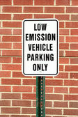 Low emission vehicle parking sign — Stock Photo