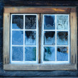 Window of a traditional Norwegian hut - Stok fotoğraf