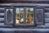 Window of a traditional Norwegian hut — Stock Photo