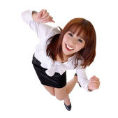 Happy dancing business woman — Stock Photo