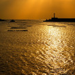 Stock Photo: Sunset harbor scenery