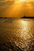 Sunset harbor scenery — Stock Photo