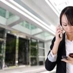 Anxious business woman phone — Stock Photo