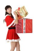 Cute Asian girl in santa clothes — Stock Photo