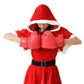 Christmas girl with boxing gloves — Stock Photo