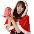 Girl with gift in Christmas — Stock Photo