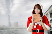 Asian christmas woman — Stok fotoğraf