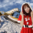 Asian Christmas woman in outdoor — Stock Photo
