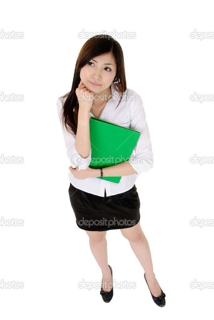 Young secretary of Asian dress in white and black dress holding a green file document is meditation. — Stock Photo #5028239
