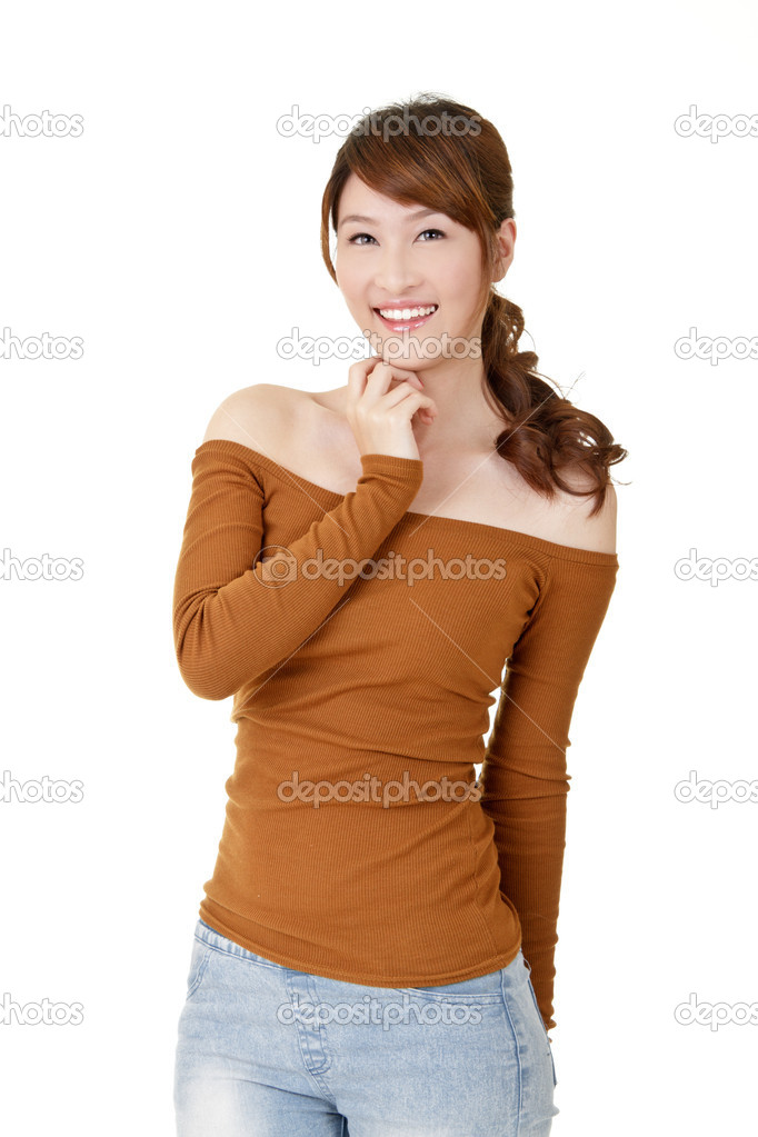 Happy smiling Asian woman, closeup portrait on white background. — Stock Photo #5074014