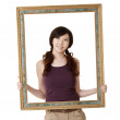 Frame with woman — Stock Photo