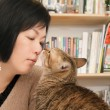 Royalty-Free Stock Photo: Cat kiss her master