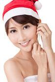 Asian Christmas lady — Stock Photo