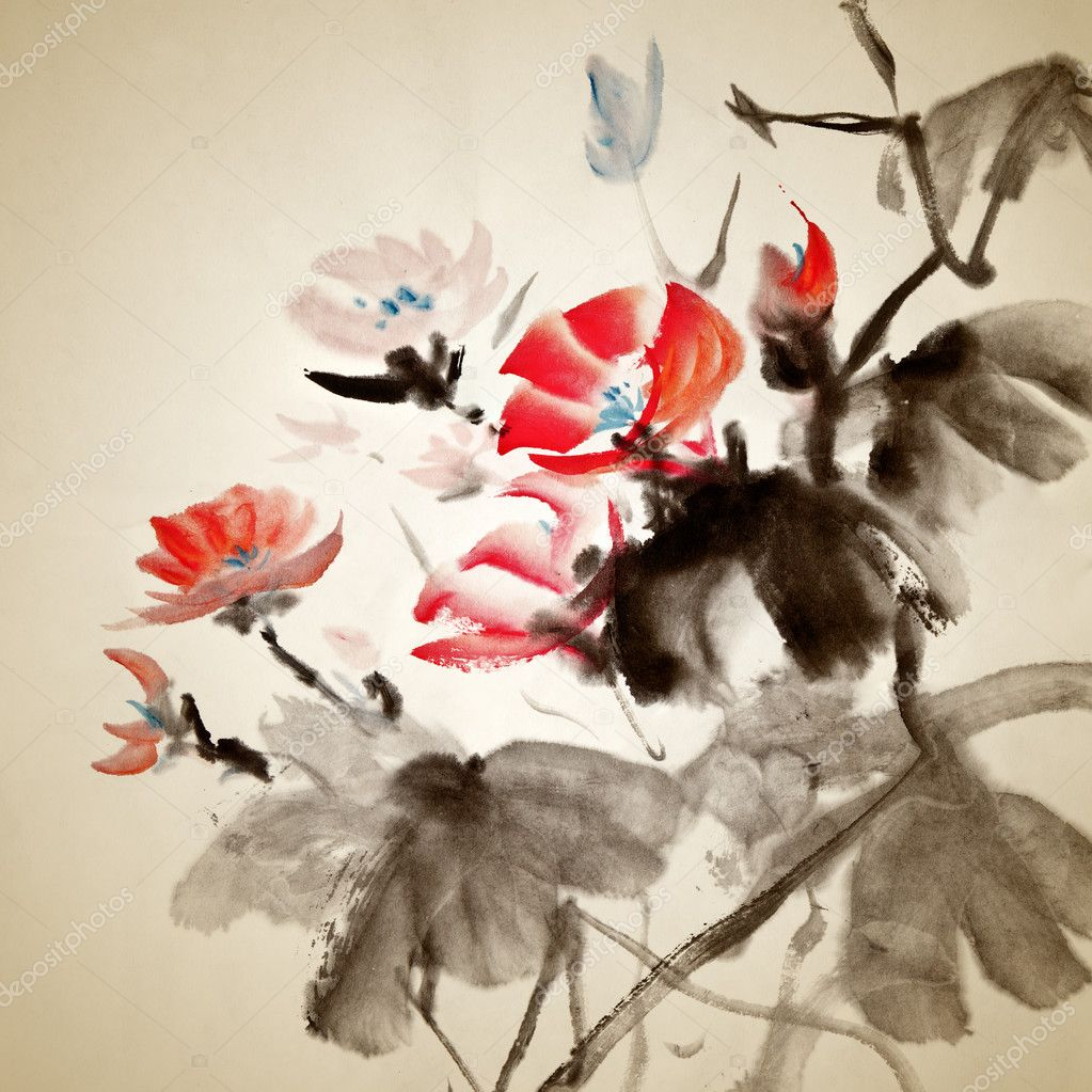 Chinese painting of morning glory, traditional artwork on art paper.  Stock Photo #5208938
