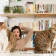 Cats and woman — Stock Photo
