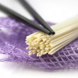 Japan noodles with chopsticks isolated on white — Stock Photo