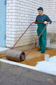 Preparation for a paving — Stock Photo