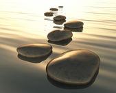 Krok kamienie wodą — Zdjęcie stockowe