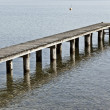Jetty at Starnberg Lake Bavaria Germany - Stock Photo