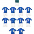 Blue Football team shirts — Stock Photo