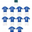Blue Football team shirts - Stock Photo