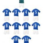 Blue Football team shirts — Stock Photo