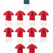 Royalty-Free Stock Photo: Red Football team shirts