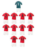 Red Football team shirts — Stockfoto