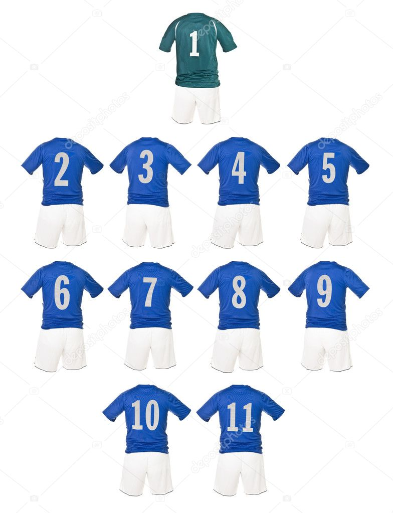 Blue Football team shirts isolated on white background  Zdjcie stockowe #4020134