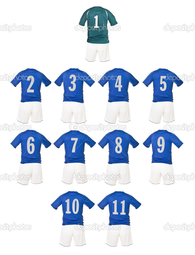 Blue Football team shirts isolated on white background — Foto Stock #4020134