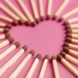 Matches formed as a heart — Stock Photo