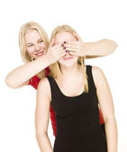 Girls playing Peek-a-boo — Stock Photo