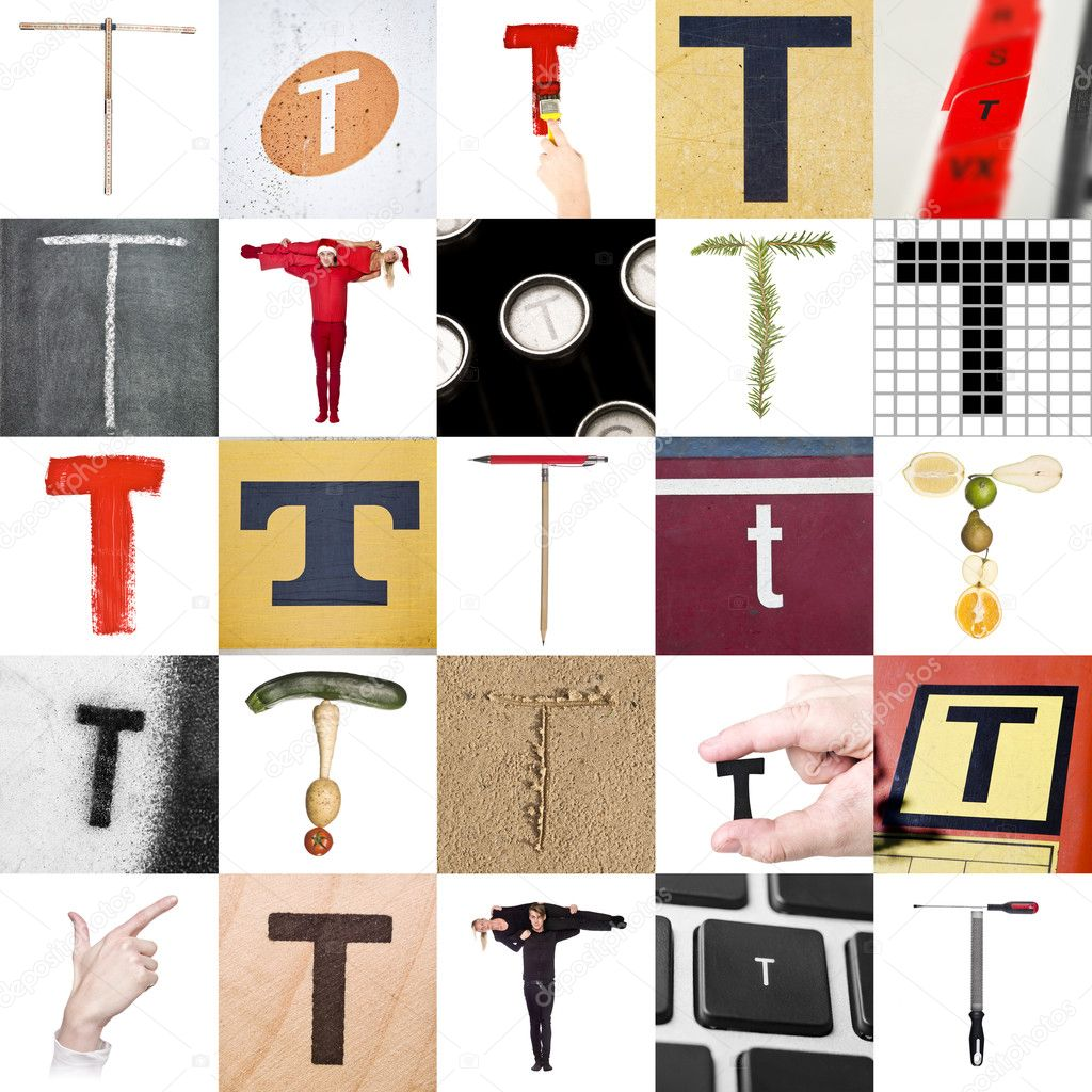 collage of letter t stock image