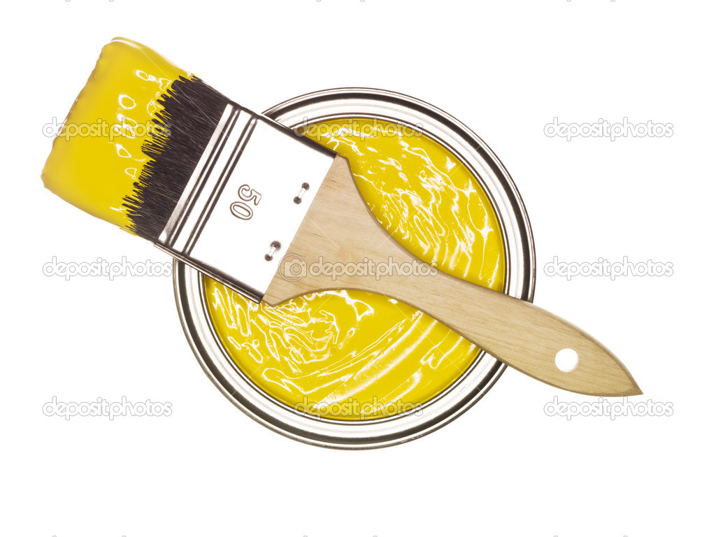 Yellow paint can with brush stock photo gemenacom 4656087 for How to make yellow paint