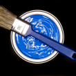 Blue Paint can ans brush — Stock Photo