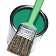 Green Paint can and brush — Stock Photo