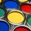 Paint cans full frame — Stock Photo