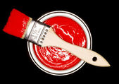 Red Paint can and brush — Stock Photo