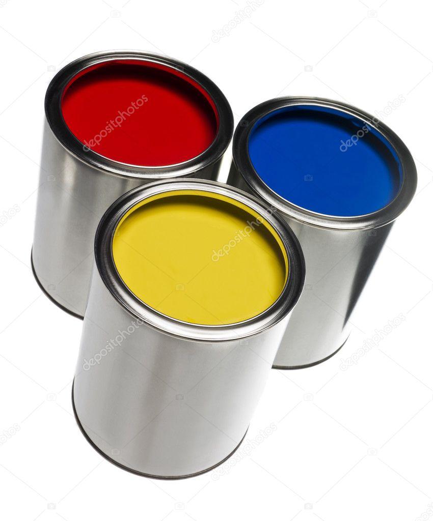 Tres botes de pintura fotos de stock gemenacom 4679789 for Bote de pintura precio