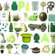 Stock Photo: Group of Green Objects