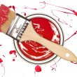 Red Paintcan and brush — Foto Stock
