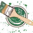 Green Paint can with brush — Zdjęcie stockowe