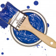 Blue Paint cwith brush — Stock Photo #4775753