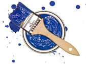 Blue Paint can with brush — Stock Photo